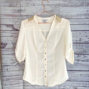 Bebe Ivory-White Elegnat Blouse With Gold Collar